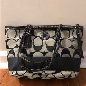 Coach Signature Stripe Tote